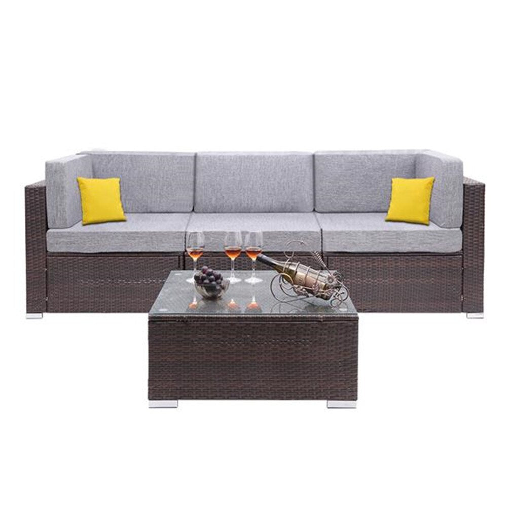 HAMISH High Quality 4 Pieces Patio Rattan Sofa Set