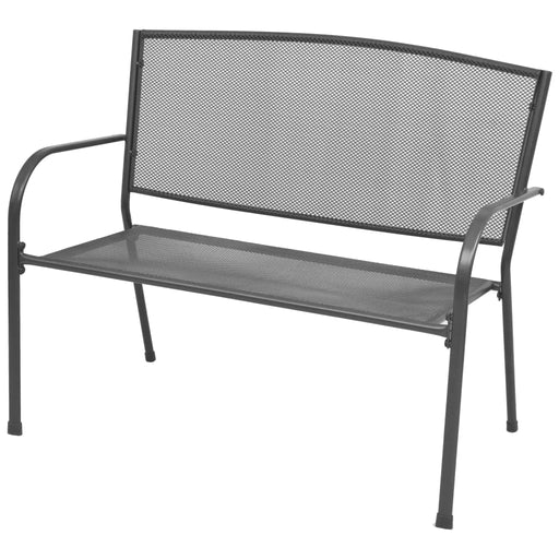 Outdoor Garden Bench 125 cm Steel and WPC Black Weather Resistant