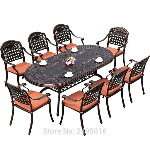 BRONZE 9 Piece Outdoor Furniture Dining Set