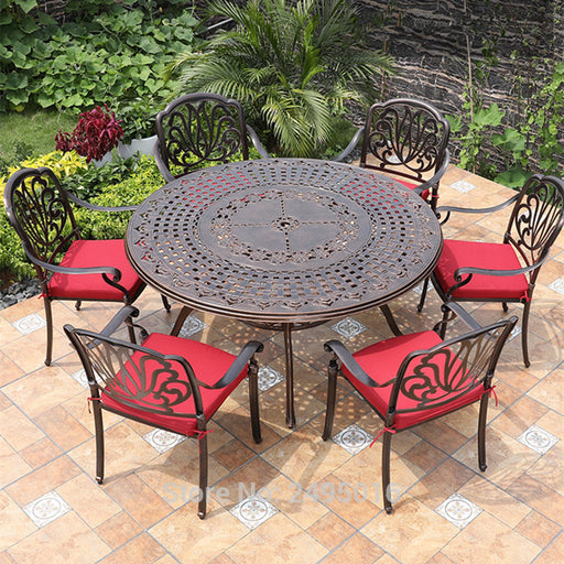 IRON Set of 7-piece Cast Aluminum Patio Dining Set