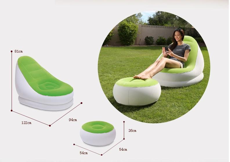 Dual-Use Inflatable Sofa Chair and Foot Stool