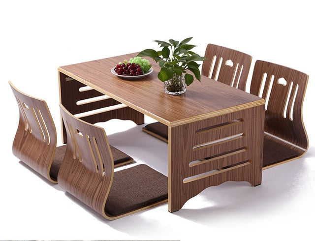 JAPORO Modern Japanese Style Dining Table and Chair 5pcs Set