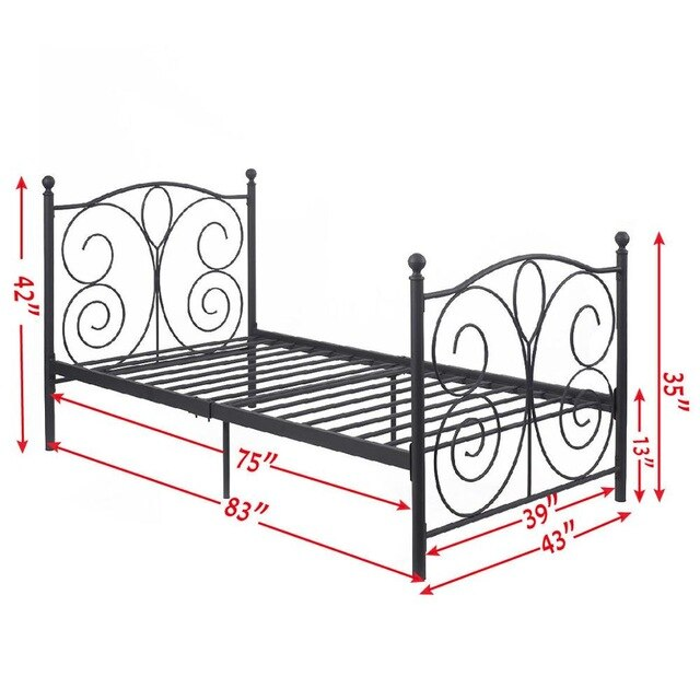 GOPLUS Black Steel Twin Size Metal Bed Frame