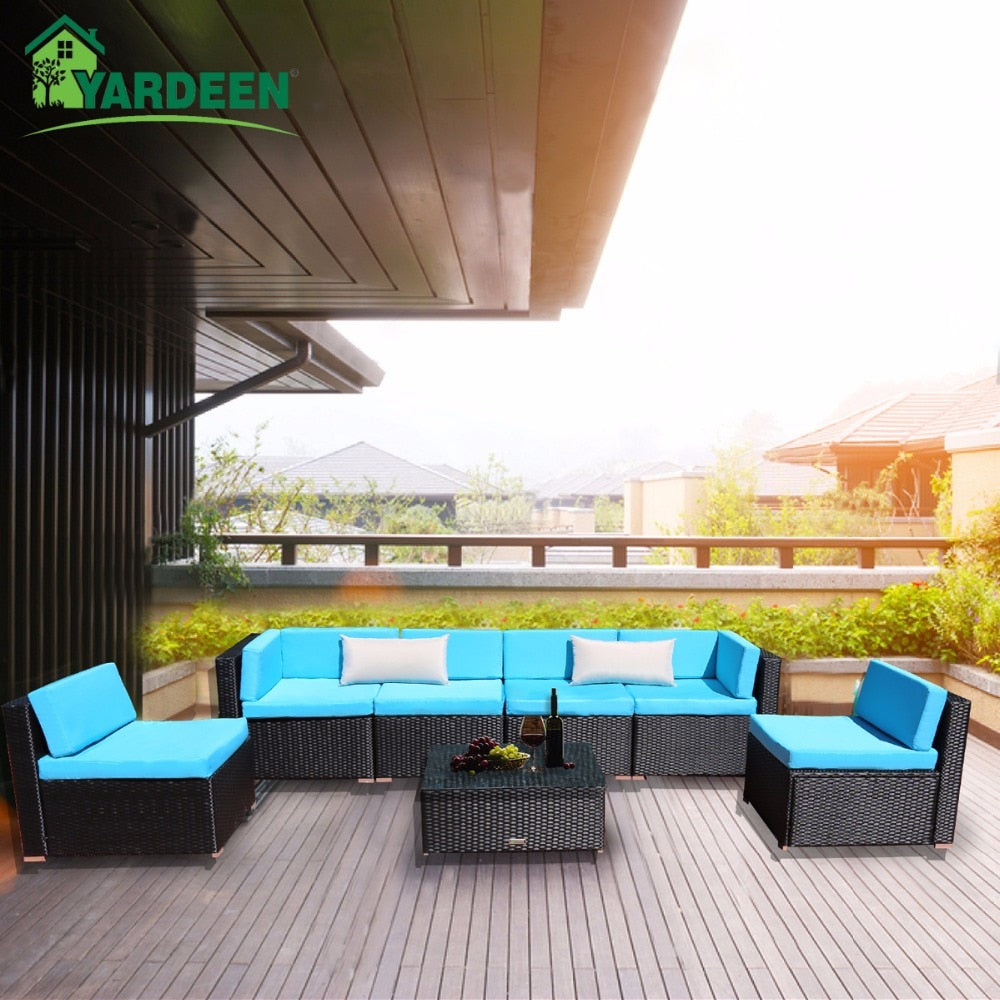 Yardeen 7 Pieces Patio Garden Sofa Set with 2 Bolster Pillows and Tea Table