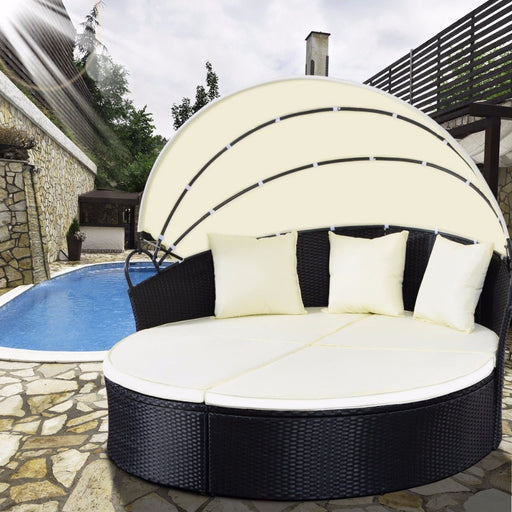Giantex Outdoor Round Retractable Canopy Daybed