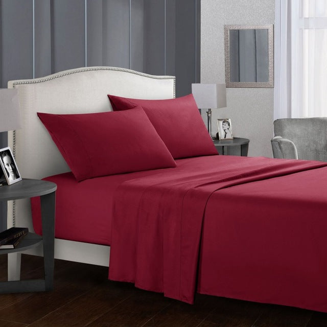 Solid Colour Bed Sheet Sets Flat Sheet + Fitted Sheet + Pillowcase