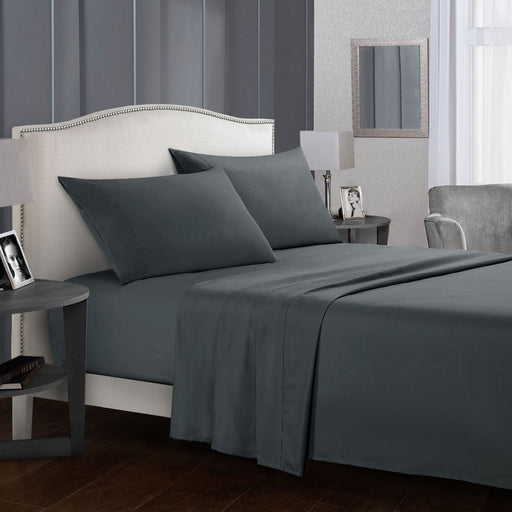 Grey Sheet Set Flat Sheet + Fitted Sheet  +Pillowcase Bedding Set