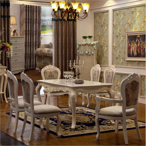 Antique Style Italian Dining Set, 100% Solid Wood Luxury Dining Table with Set of 6 Chairs
