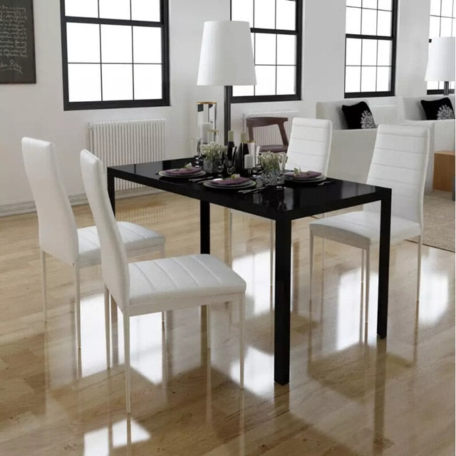 VidaXL 5pcs. Dining Table Set Black And White 105x60x74cm