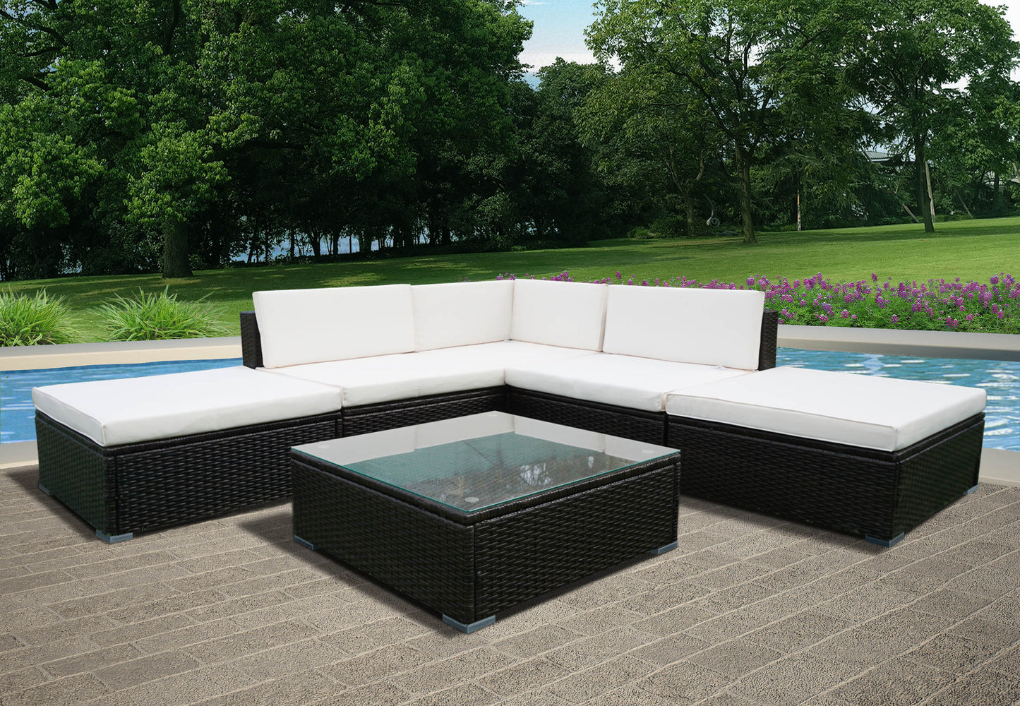 Panana 6PCS Rattan Outdoor Garden Corner Sofa Set