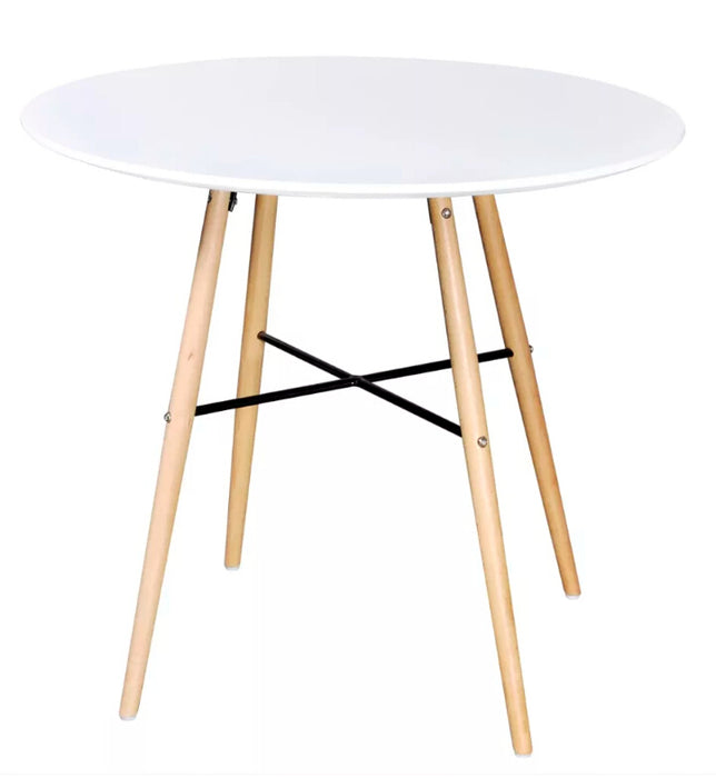 VidaXL High Quality Dining Table MDF Round Matte White/Black