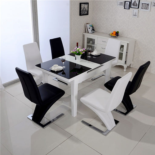 Z Shape Dining Chairs Faux Leather Metal Legs