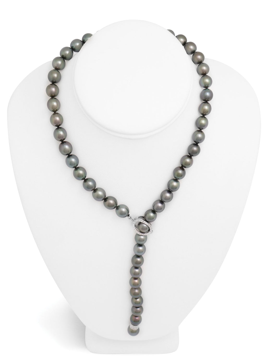 Tahitian pearl strand - 18K white gold clasp with diamond - C4OGD111