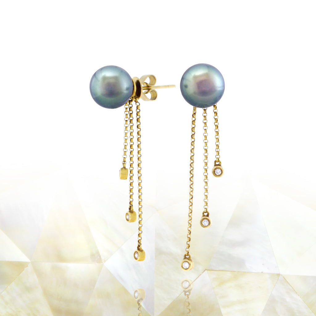 Tahitian pearl earrings 18k yellow gold with diamonds - Rainbow drops - EAYDPE00077