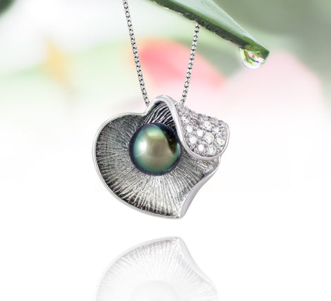 Tahitian pearl pendant in silver - Dewdrops collection - PESVPE00097