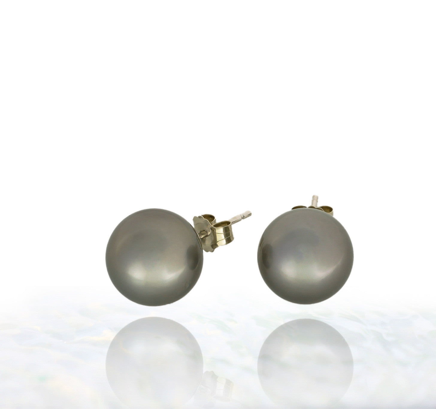 Tahitian pearl earrings - 14k white gold studs - EAWGPE00170