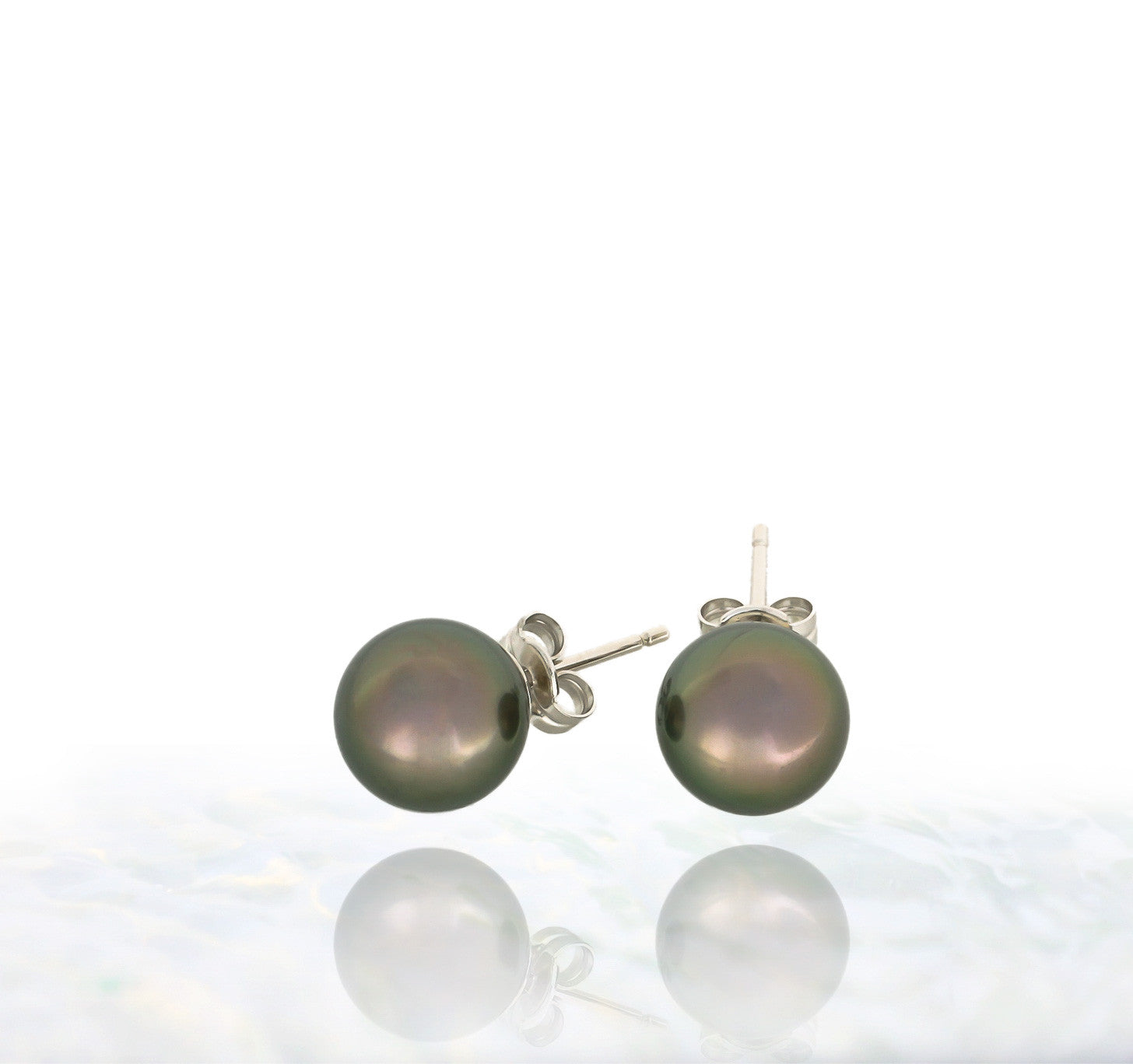 Tahitian pearl earrings - 18k white gold studs - EAWGPE00177