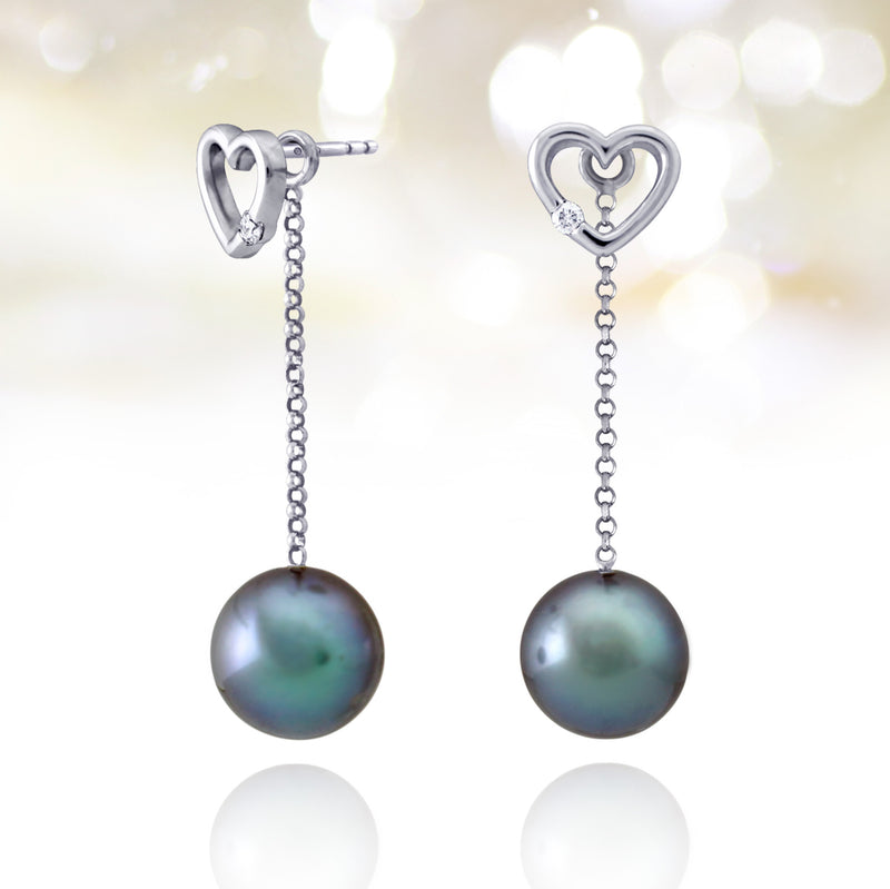 Tahitian pearl earrings - 18k white gold with diamonds - Forever -EAWDPE00063