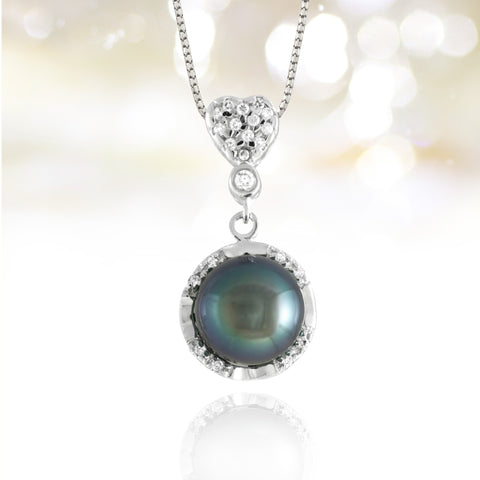 Tahitian pearl pendant silver and cubic zirconium - Forever collection - PESZPE00102