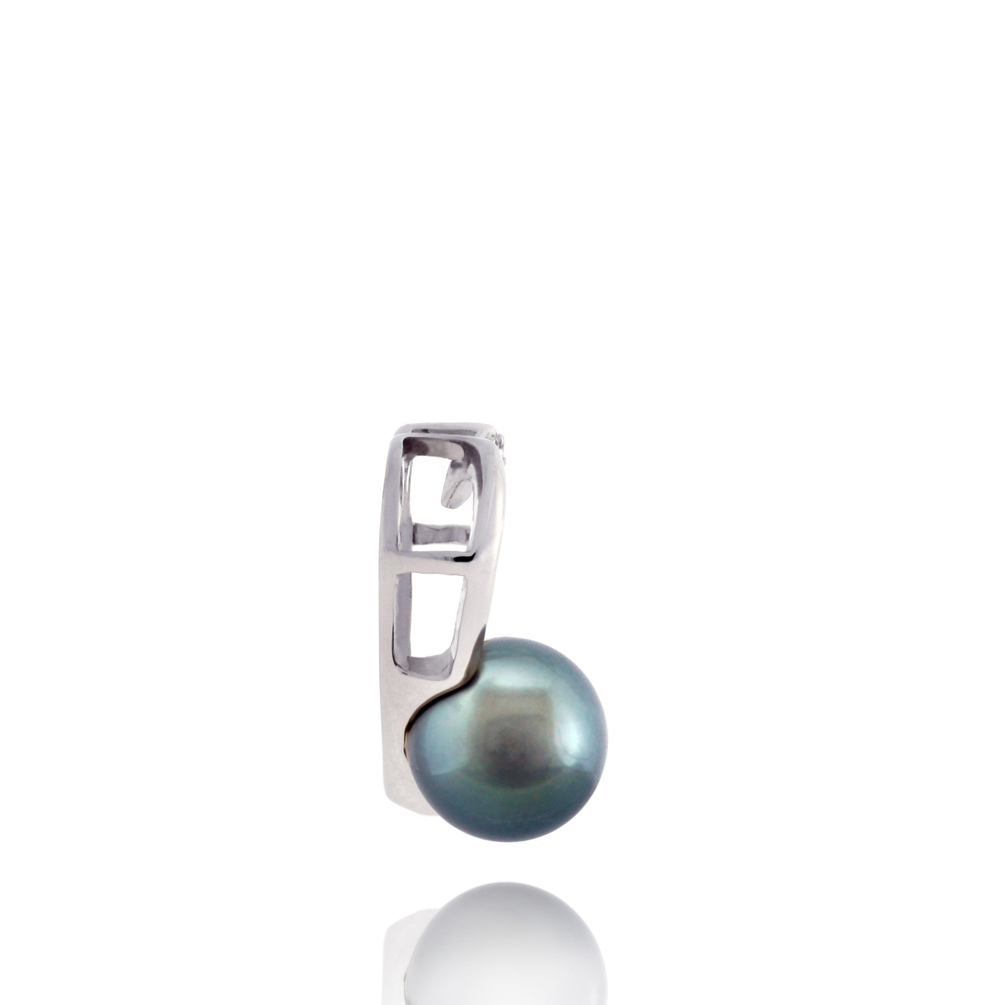Tahitian pearl pendant 18k white gold with diamonds - Forever -PEWDPE00525