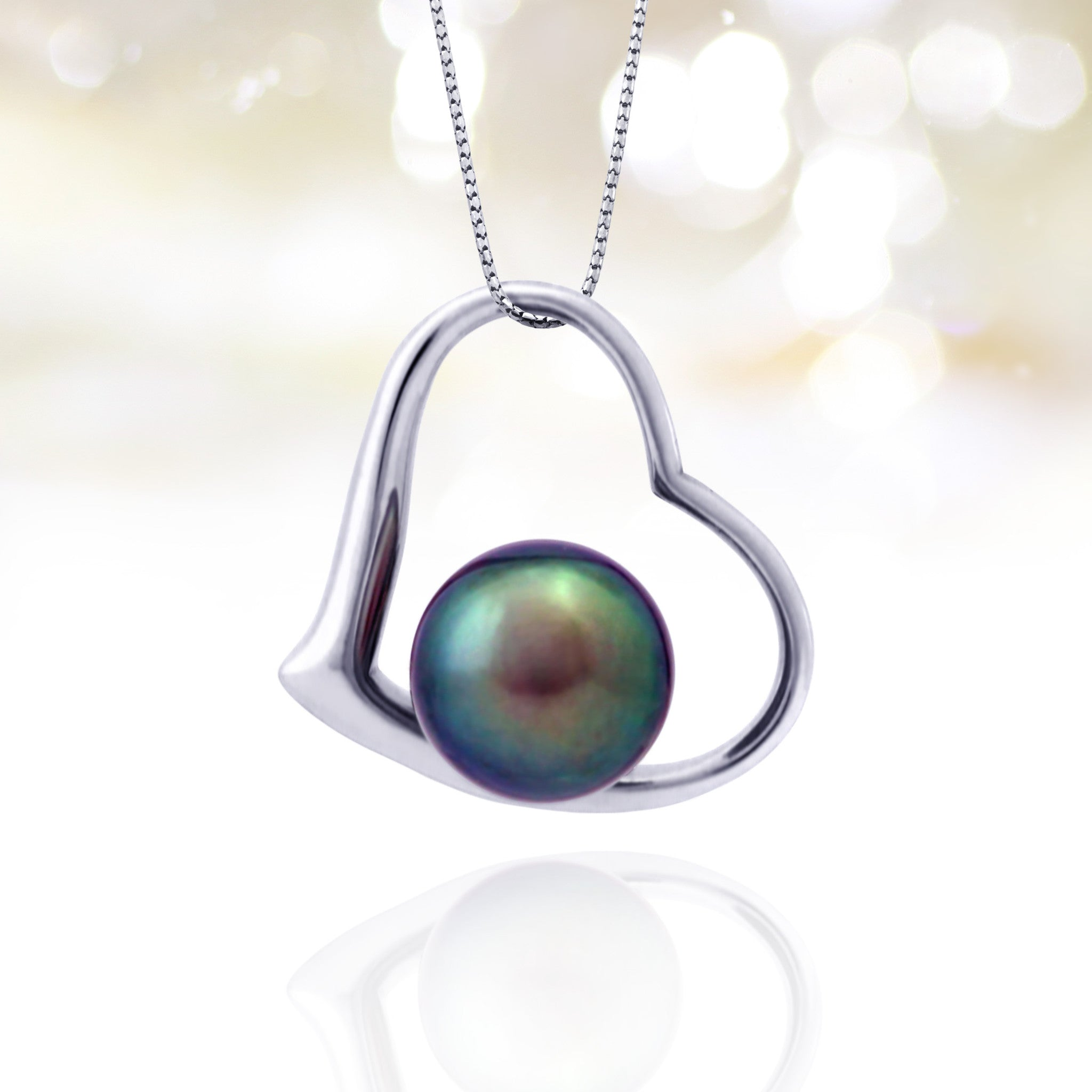 Tahitian pearl pendant - 18k white gold - Forever -PEWGPE01168