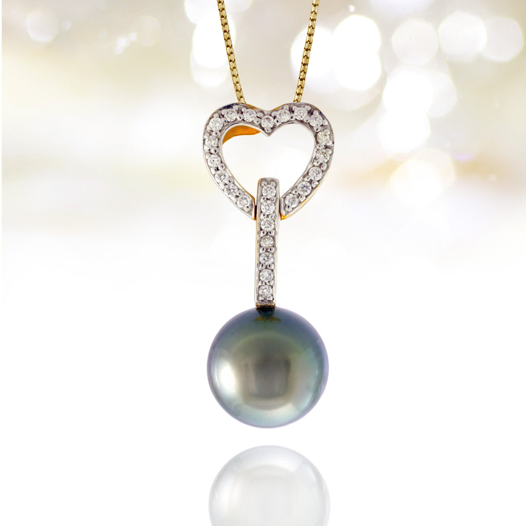 Tahitian pearl pendant - 18k yellow gold with diamonds - Forever -PEYDPE00593