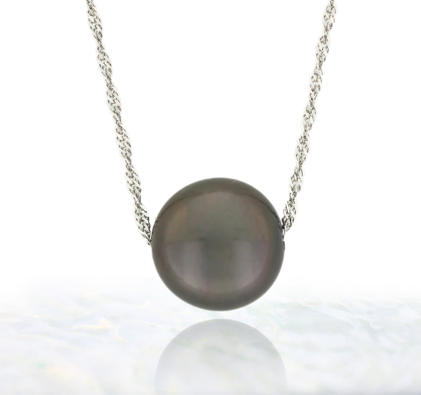 Tahitian pearl necklace - Floating design - 14k white gold ...