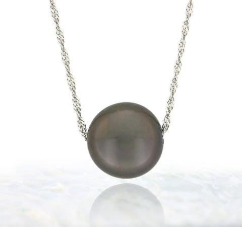 Tahitian pearl necklace - Floating design - 14k white gold - NDWGPE01030