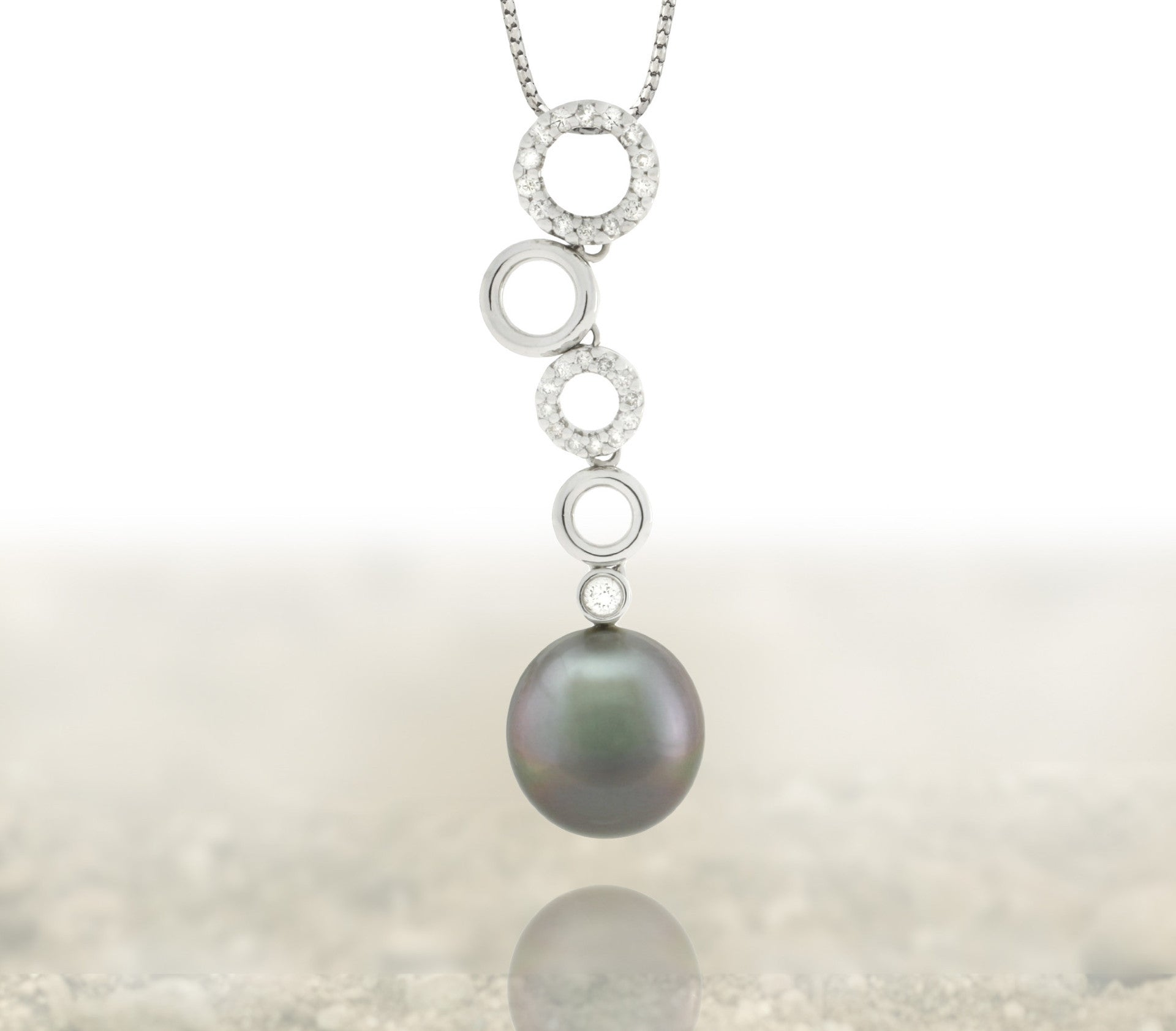Tahitian pearl pendant 18k white gold with diamonds - Circle of Life - PEWDPE01038