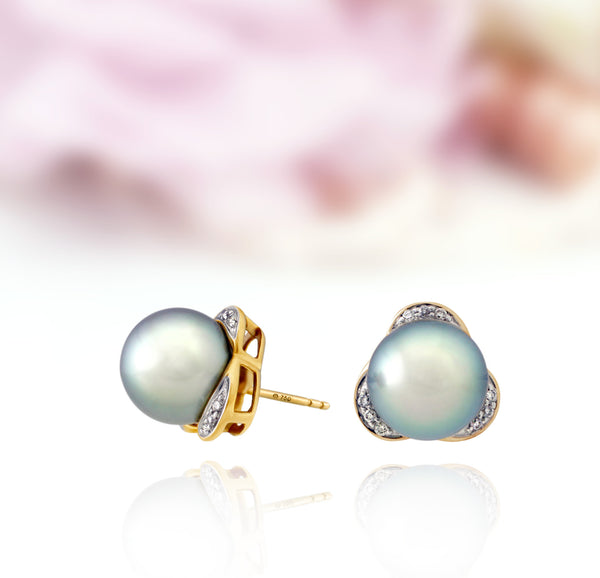 Tahitian pearl earring - 18k yellow gold with diamonds - EAYDPE00109