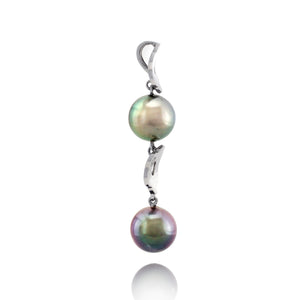 Tahitian pearl pendant in 18k white gold and diamonds - Tiare Tahiti - PEWDPE00551