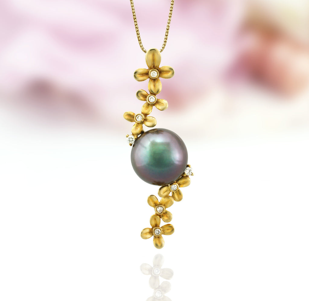 Tahitian pearl pendant in 18k yellow gold with diamonds - Tiare Tahiti - PEYDPE00571