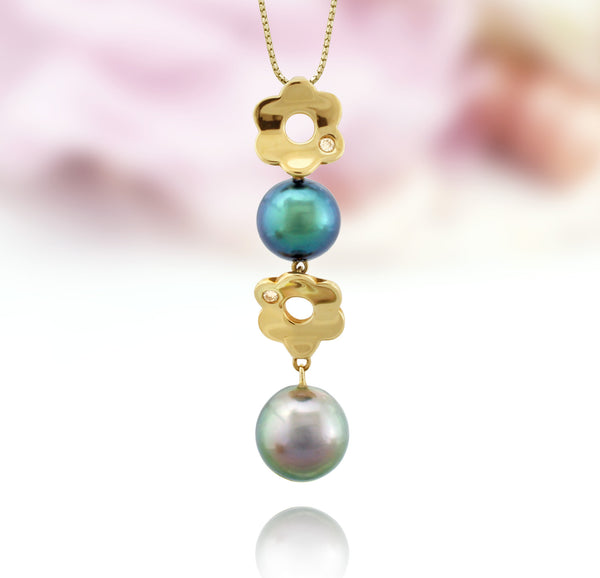Tahitian pearl pendant in 18k yellow gold with diamonds - Tiare Tahiti - PEYDPE00594