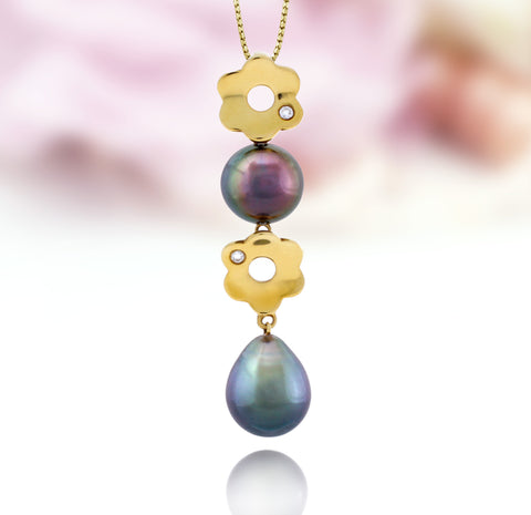 Tahitian pearl pendant in 18k yellow gold with diamonds - Tiare Tahiti - PEYDPE00595