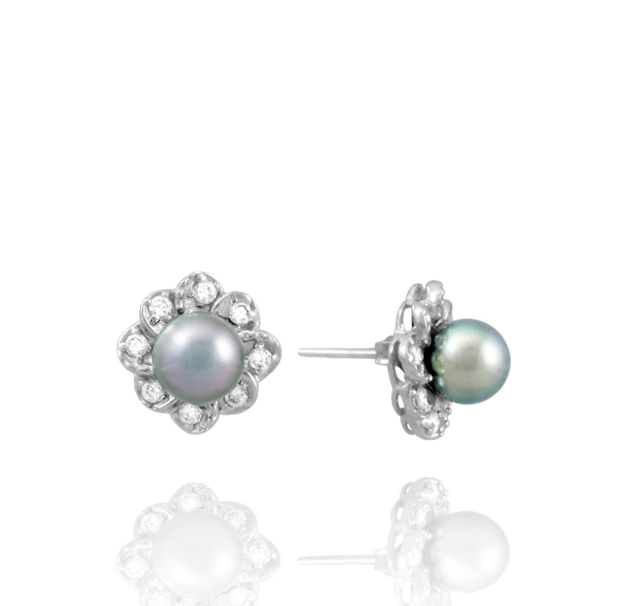 Tahitian pearl earrings - Sterling silver - EASZPE00090