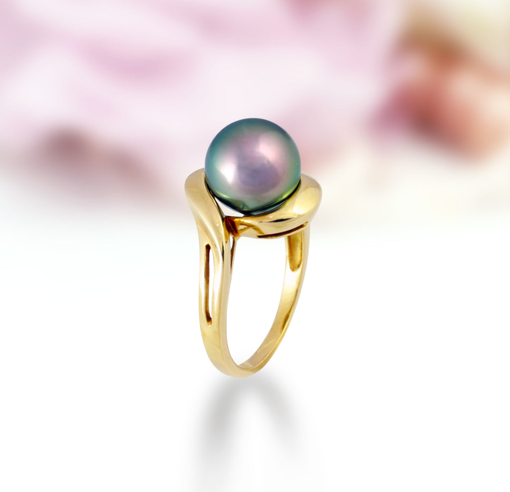 Tahitian pearl ring - 18k yellow gold - RGYGPE00026