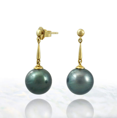 Tahitian pearl earrings in gold plated - Timeless Elegance - EAGPPE00007