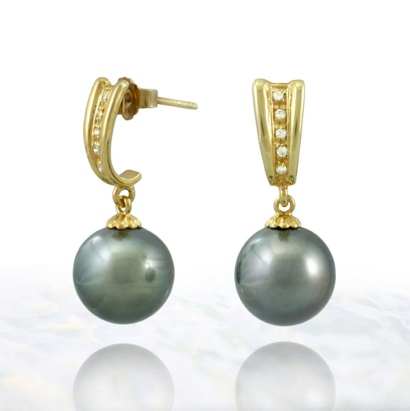 Tahitian pearl earrings in gold plated - Timeless Elegance - EAGZPE00001
