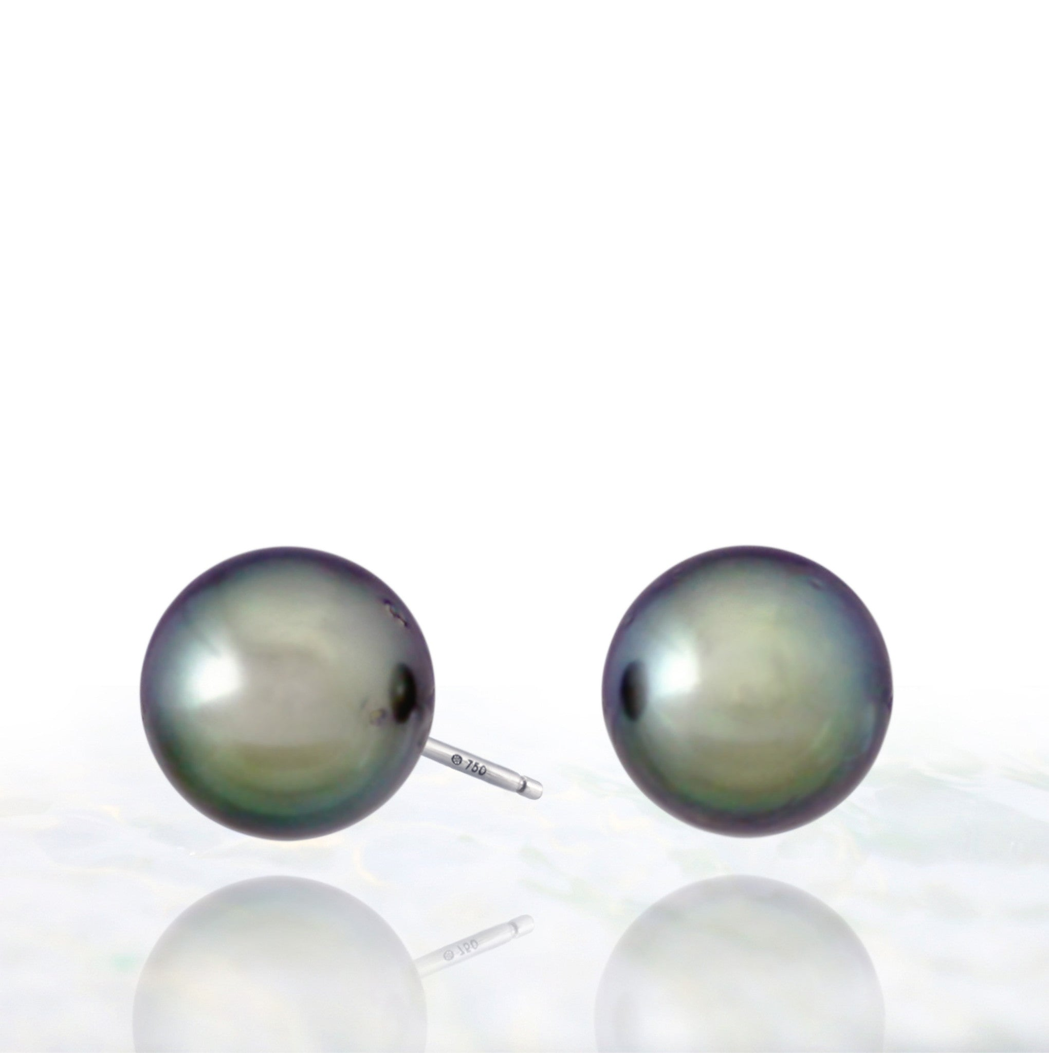 Tahitian pearl earrings - 18k white gold studs - EAWGPE00146