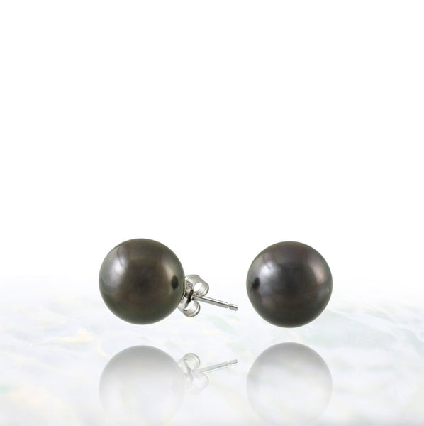 Tahitian pearl earrings - 14k white gold studs - EAWGPE00172