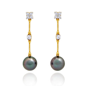 Tahitian pearl earrings in 18k yellow gold and diamonds - Timeless Elegance - EAYDPE00096