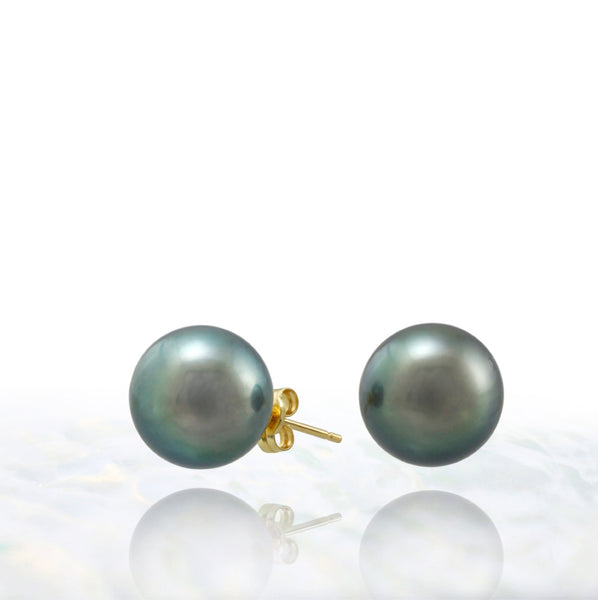 Tahitian pearl earrings - 18k yellow gold studs - EAYGPE00198