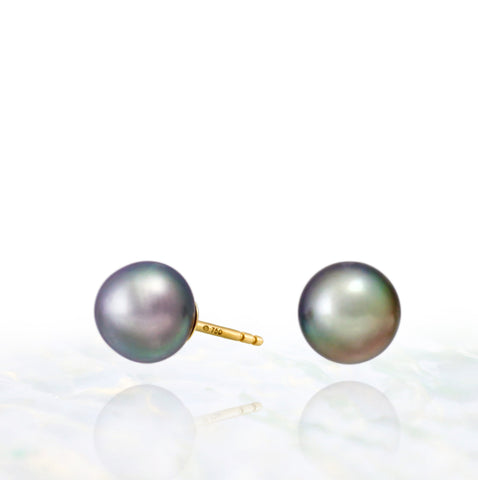 Tahitian pearl earrings - 18k yellow gold studs - EAYGPE00227b