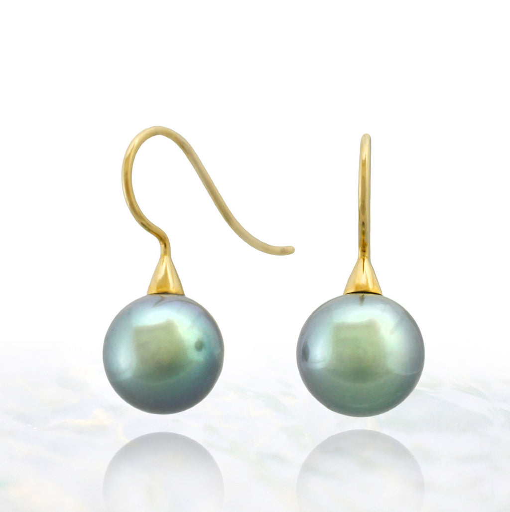 Tahitian pearl earrings - 18k gold cone shepherd hooks - EAYGPE00236