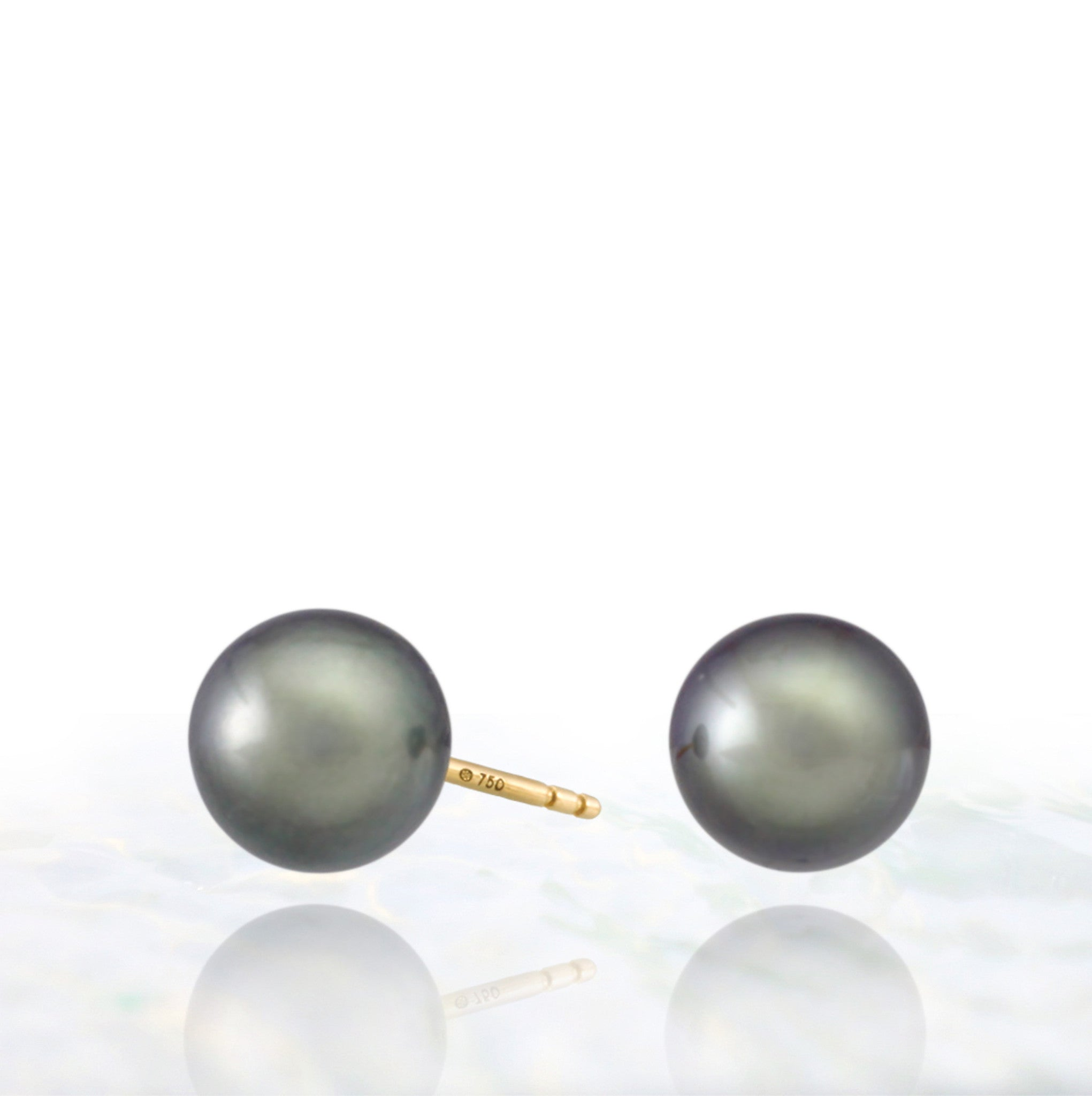 Tahitian pearl earrings - 18k yellow gold studs - EAYGPE00239