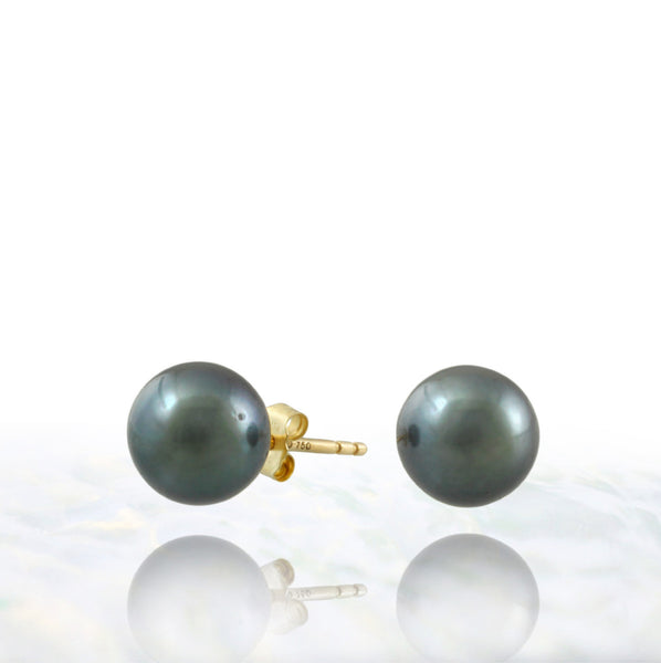 Tahitian pearl earrings - 18k yellow gold studs - EAYGPE00240