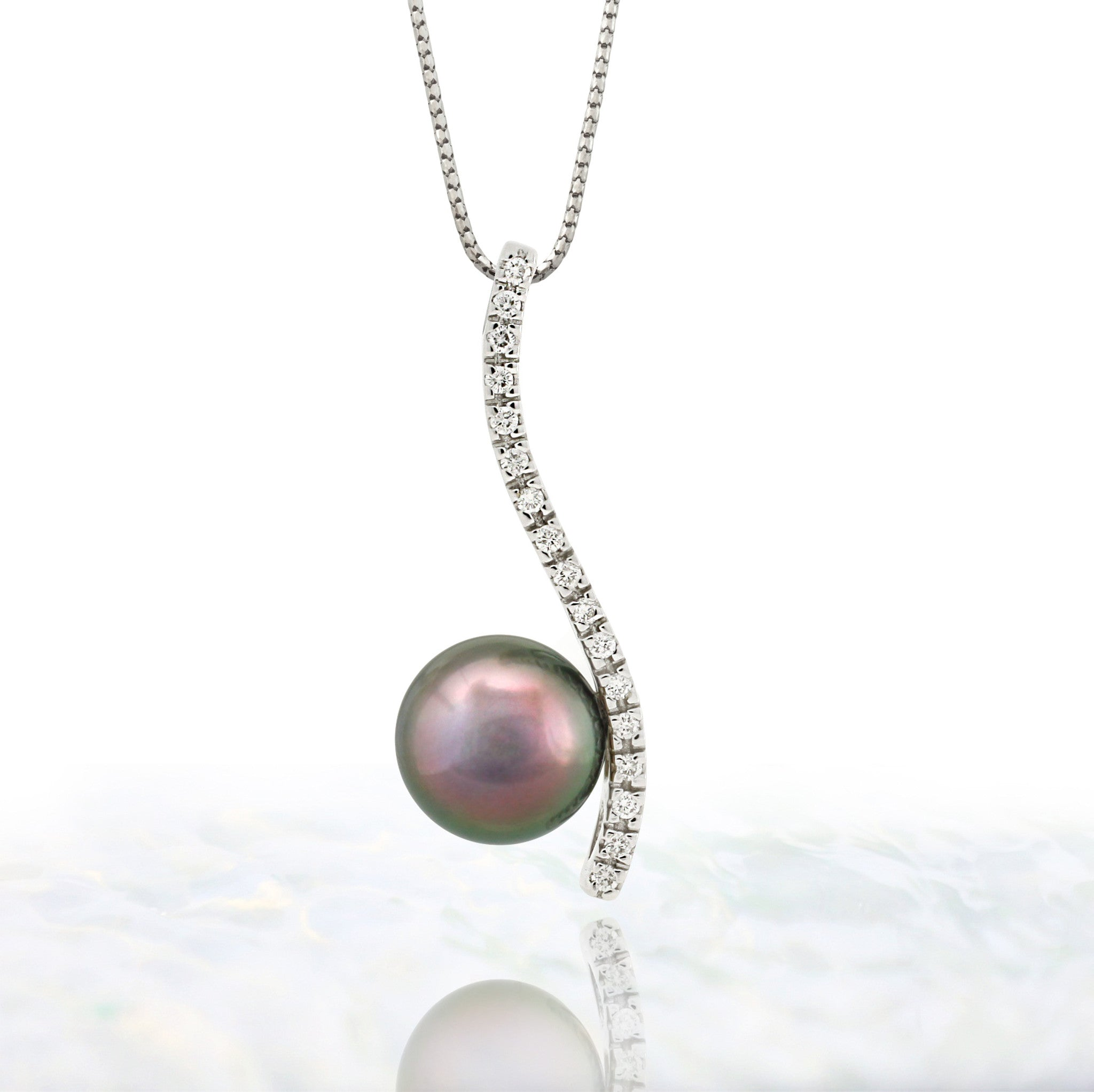 Tahitian pearl pendant in 18k white gold and diamonds - Timeless Elegance - PEWDPE00553