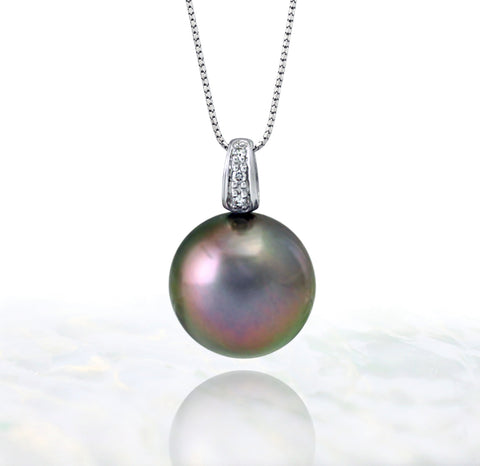 Tahitian pearl pendant in 18k white gold and diamonds - Timeless Elegance - PEWDPE01137