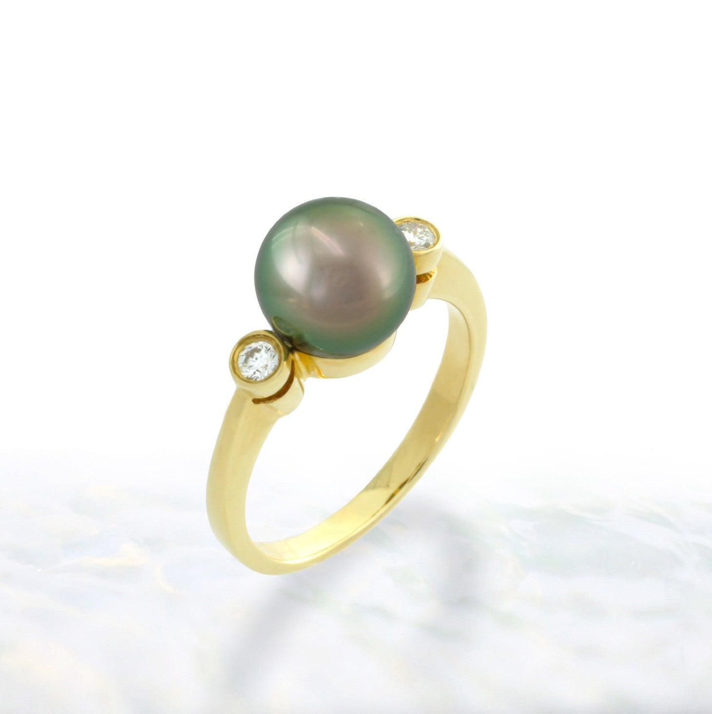 Tahitian pearl ring - 18K gold classic design - RGYDPE01016