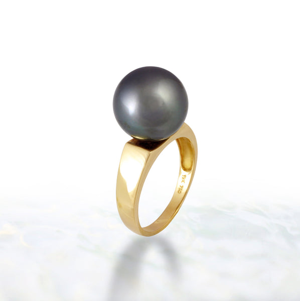 Tahitian pearl ring - 18K yellow gold - RGYGPE00032